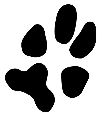 pawprint: one single paw print from a dog - vector