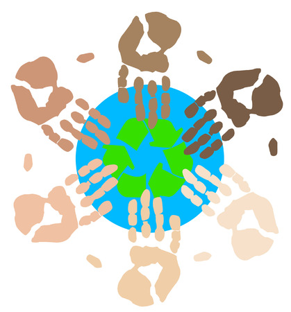 environmental awareness: many colorful hands recycling on community or global level