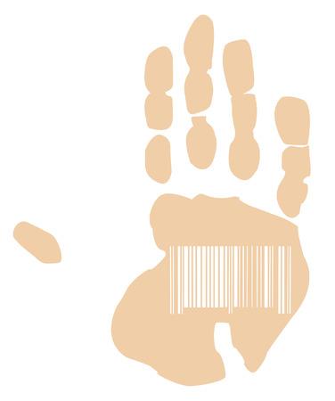 barcode scan: mano de impresi�n con c�digo de barras escaneado s�mbolo - vector  Vectores