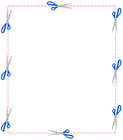 scissors cutting around a dotted line border - vector Stock Vector - 2538451