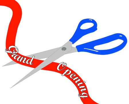 snip: scissors cutting grand opening ribbon in half - vector