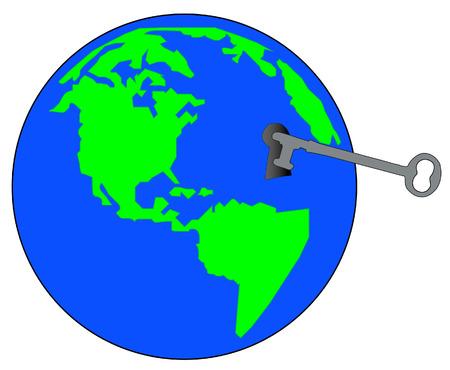 potential: world globe with key - unlock secrets of the world - vector Illustration