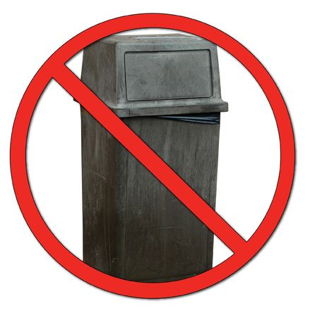 don't care: garbage bin with no or dont symbol - no dumping