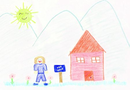 girl standing beside house listed for sale - childs drawing photo