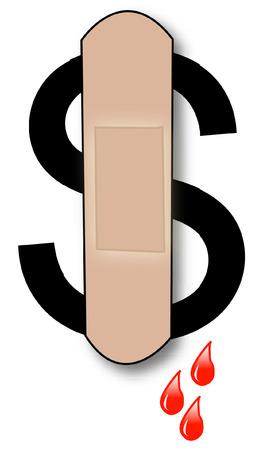 bleeding: bleeding dollar sign with bandaid and blood drips - vector