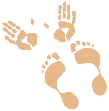 hand print: flesh toned hand and foot prints - vector