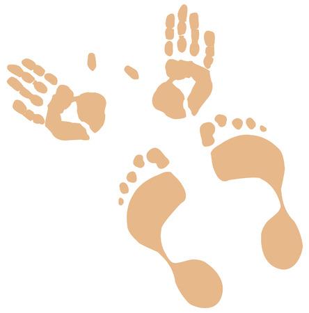 manos logo: tonos carne de pies y manos impresiones - vector