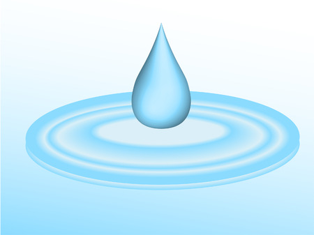 drop water: 3d droplet of water falling into puddle - vector