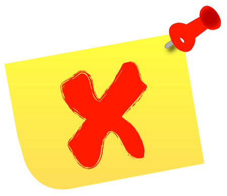no or x on thumb tacked note - vector Stock Vector - 2546366