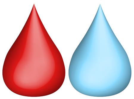 fiambres: 3d goteo de agua y la sangre por goteo - vector