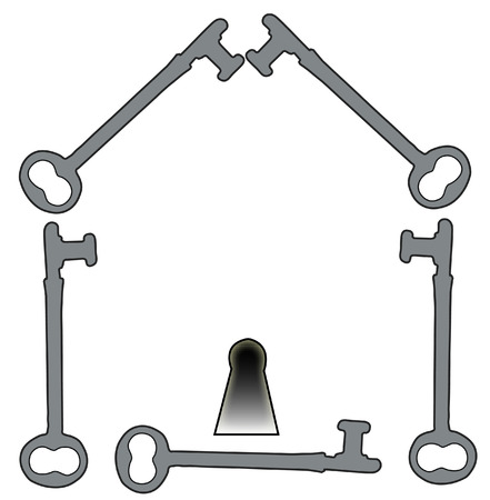 antique keys: house illustration made from antique keys - vector
