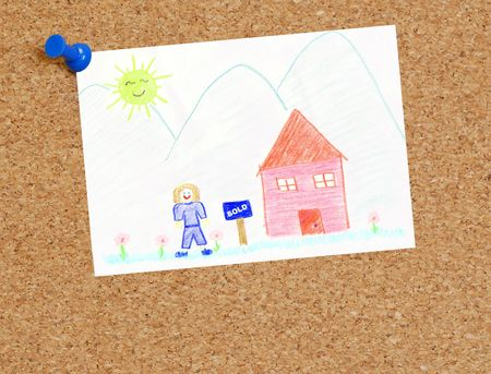 closed corks: childs picture of sold house attached to corkboard  Stock Photo