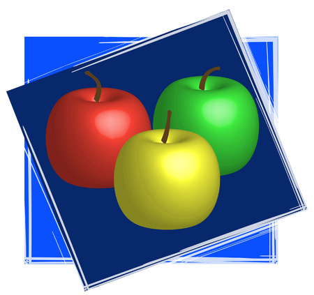 red green and yellow apples with blue frame - vector Vector