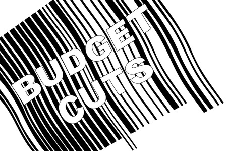 scanning: scanning barcode with words - budget cuts - vector Illustration