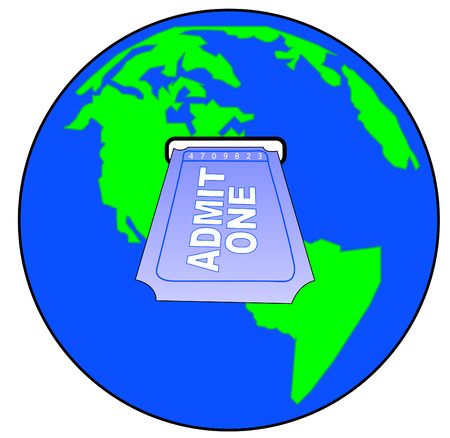 admit: world globe with slot for admit one ticket -vector