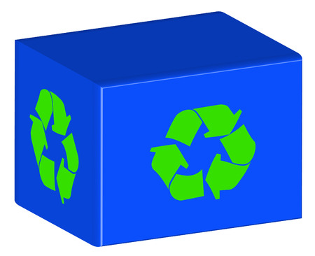 environmental awareness: blue recycling bin with green arrow logo - vector Illustration