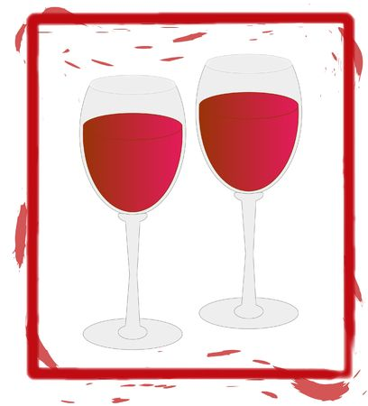 two wine glasses full of red wine - illustration illustration
