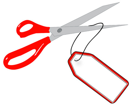 scissors cutting string of gift or sale tag - vector Vector
