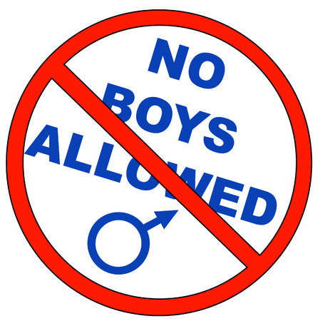 unlawful: no permite con los ni�os de sexo masculino s�mbolo - vector