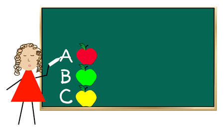 teacher standing at chalk board teaching alphabet with apples - vector Vector