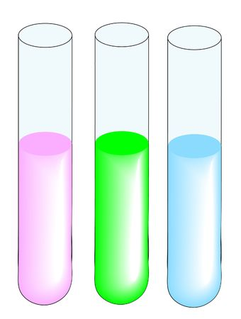 three test tubes with different liquid specimens - vector photo