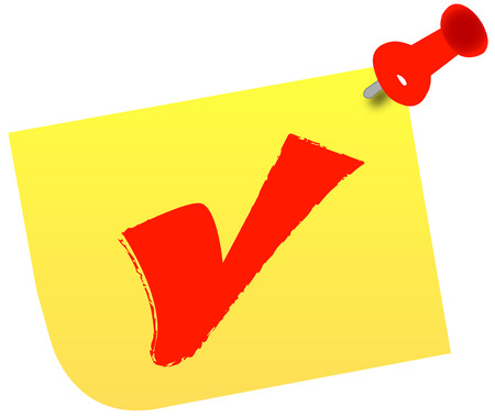 red check mark on thumb tacked note Vector