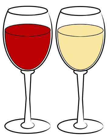red and white wine in glasses - vector Vector