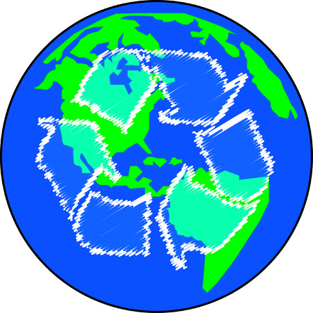 environmental awareness: earth or globe with recycle arrows - global effort - vector Illustration