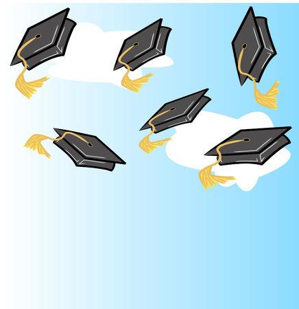 happy kids: graduation hat or cap - vector illustration Illustration