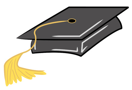 credential: black graduation cap with gold tassel - vector