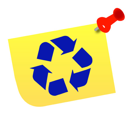 recycle symbol vector: thumb tacked note with blue recycle symbol - vector