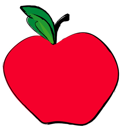 red apple with green leaf - vector image Vector