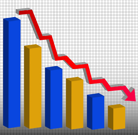 smaller: Graph showing decrease in profits or earnings in 3D - vector Illustration