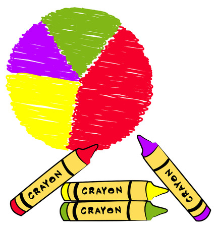 circle shape: circle graph colored in with crayons - vector