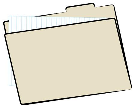 sort: manilla or file folder with lined paper inside - vector Illustration