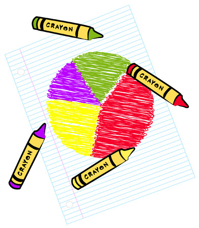 colored circle graph on lined paper with crayons - vector Vector