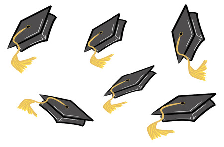 commemoration: graduation caps or hats being tossed in the air - vector