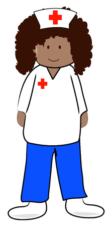 medical drawing: female health care professional or nurse - vector Illustration