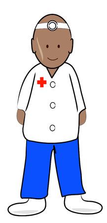 practitioner: doctor or male nurse practitioner - vector illustration Illustration
