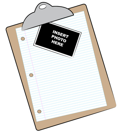clipboard with lined paper and photo attached Vector
