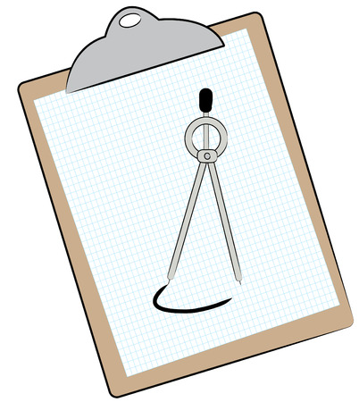 draftsman: graph paper and compass on clipboard - vector