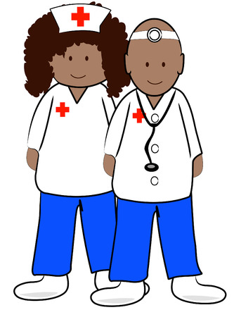 ethnic male doctor and female nurse - vector Vector