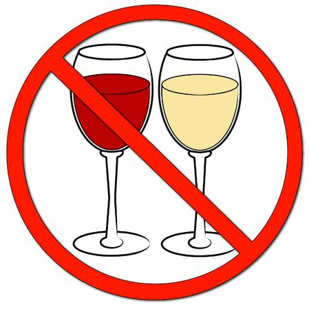 two wine glasses with not allowed symbol - drinking prohibited - vector