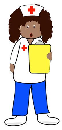 medical assistant: enfermera con sujetapapeles y sorprendido expresi�n - malas noticias - vector