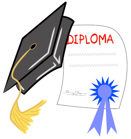 high: graduation hat and diploma - graduation day - vector