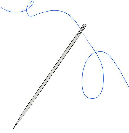 flink: Nadel mit blauen Faden aufgereiht durch - Vektor Illustration