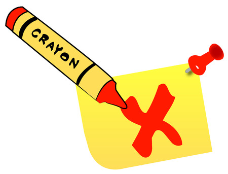 wax crayon making check mark on thumb tacked note - vector Vector