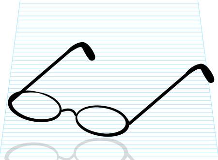 miopia: occhiali da lettura o spettacoli a rigato carta - vettore