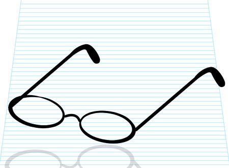 reading glasses or spectacles on lined paper - vector Vector