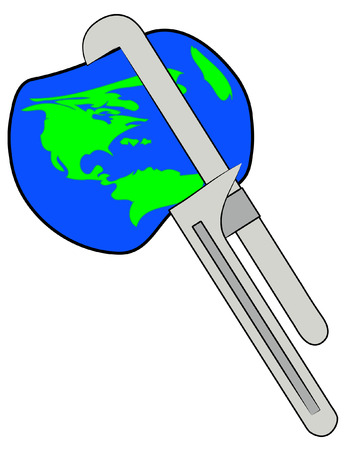 seize: earth being squeezed with a pipe wrench - vector